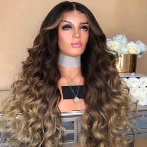 Brown Gradient Colors Curly Wig